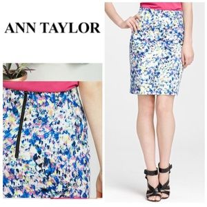 Ann Taylor Watercolor Pencil Skirt w/ Exposed Zip